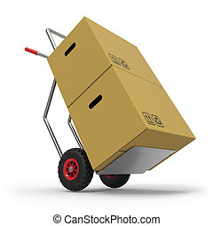 Hand truck with cardboard Boxes on white background 3D...