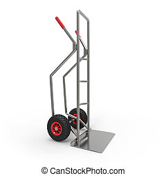 Hand truck on white background 3D rendering