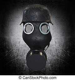 Gas mask with military helmet on dark background