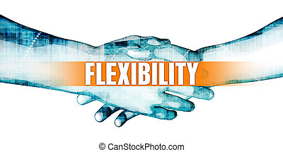Flexibility Concept with Businessmen Handshake on White...