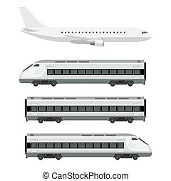 Passenger transport. Plane with train on white background....