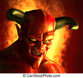 Devilish Grin - 3D rendered portrait of a devil with a...