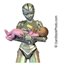 RoboNanny: The future of Child Care - A female robot holding...