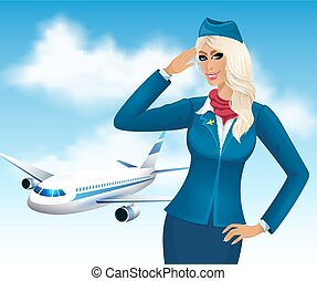 Beautiful stewardess on the background of an airplane