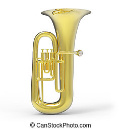 Tuba on white background 3D rendering