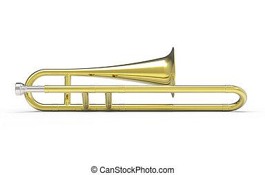 Trombone on white background 3D rendering
