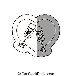 heart with glasses of champagne inside, vector illustration...