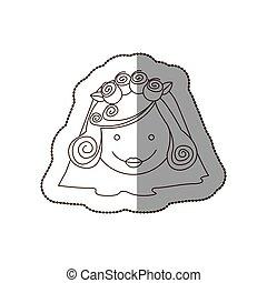 happy face bride with veil