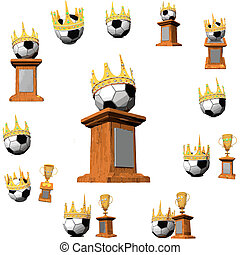 Gold award with the ball and with a crown