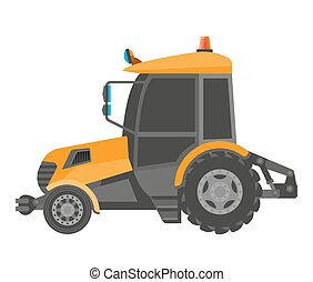 Yellow model of bulldozer close-up realistic figure in...