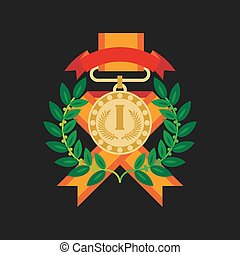 Golden medal for first place with laurel wreath graphic icon