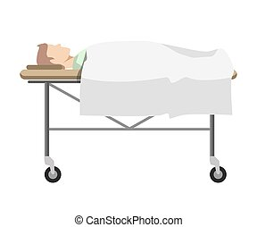 Male person lying on medical table with wheels - Male person...