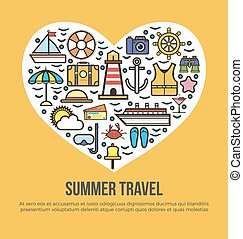 Cruise set summer travel in shape of heart on yellow -...