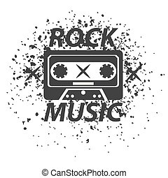 Rock music band black white logotype. Classic old vintage cassette