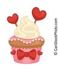 Sweet vanilla cupcake with red hearts and bows decorations...