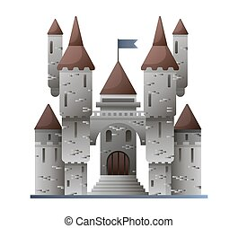 Ancient stone castle in fairy-tale design isolated on white...