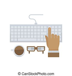 Man hand typing on computer keyboard isolated in flat design