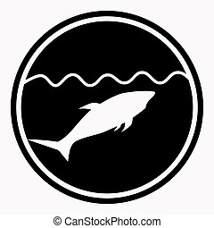 Warning isolated sign circle with shark under water