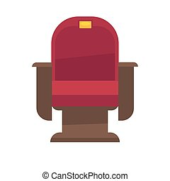 Comfortable armchair in cinema isolated on white. Red chair...