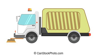Machine cleans road garbage removal flat icon on white...