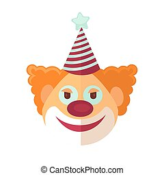 Red clown from circus drawn icon cartoon style on white -...