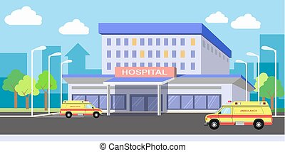 Urban hospital building exterior with ambulances on yard -...