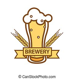 Glass of foamy beer with barley ears flat design isolated on...