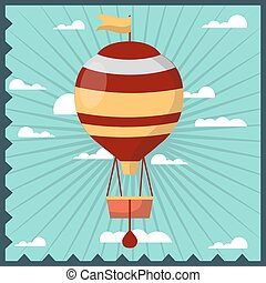 Airballoon isolated in sky colorful card with frame -...