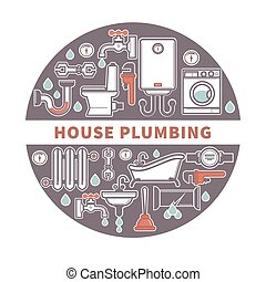 House plumbing firm label for promotion illustration...