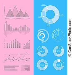 Set of Vector Graphs and Diagrams for Infographics - Set of...