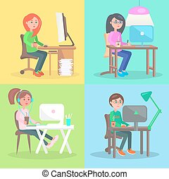 Cartoon Employees Work at Computer in Office Set