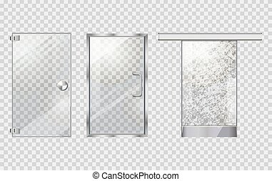 Glass Door Collection on Transparent Background - Glass door...