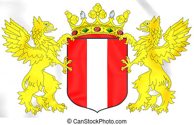 Dordrecht coat of arms, Netherlands. 3D Illustration.