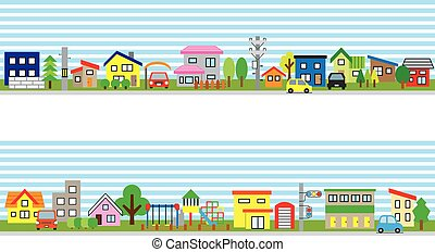 Row of the house of the residential area - sky and ground -