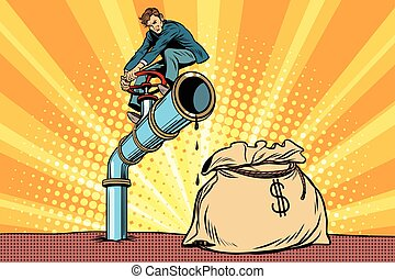 Businessman closes the tap oil pipe, a bag of money. Pop art...