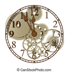 Clockwork with five minutes to twelve on white background 3D...