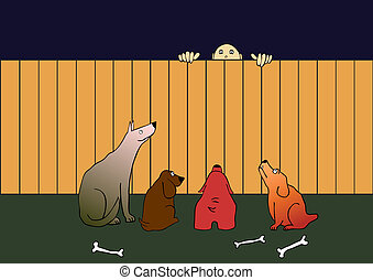 guard dogs and thief - vector - Illustration of the thief...
