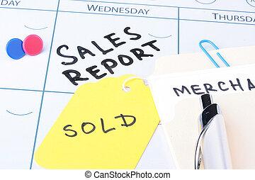 rapport, réunion, ventes