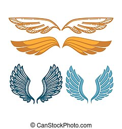 Angel gold and blue wings collection. Gorgeous wing isolated...