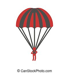 Red person flying with striped parachute graphic icon on...