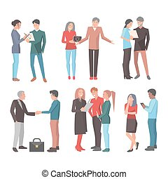 Startup Teams. Big Set of Isolated Illustrations - Six...
