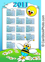 2011 Kid calendar with baby bee