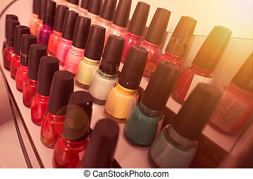 Set of different bottles of nail polish