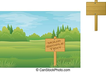 Wood Sign in Summer Forest - Wood Sign for Your Text in...