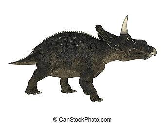 3D Rendering Dinosaur Diceratops on White - 3D rendering of...