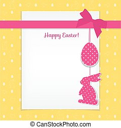 Easter card and seamless pattern with eggs, rabbits, birds, hear