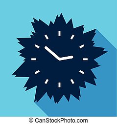 Blue modern clock without numbers icon, flat style - Blue...