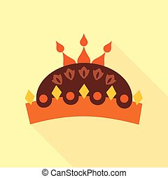 Crown with jewels icon, flat style