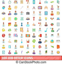 100 job offer icons set, cartoon style - 100 job offer icons...