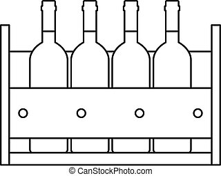 Wine bottles standing in a crate icon. Outline illustration...